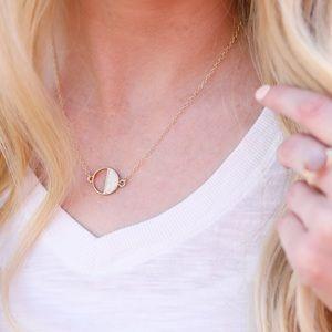 UNIQUE / Moonstone Half Eclipse Pendant Necklace